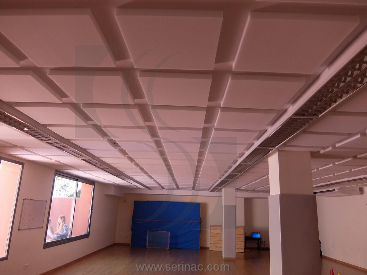 paneles acústicos techo gimnasio